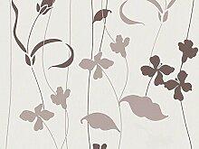 Vliestapete Blumen weiß braun Avenzio 93814-1