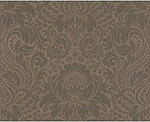Vliestapete Damask Barock Design braun metallic