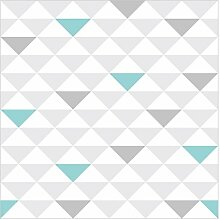 Vliestapete Dreiecke Grau Weiß Türkis Premium