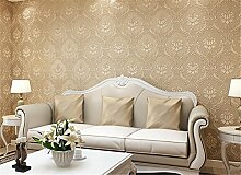 Vliestapete einfachen europäischen Wohnzimmer Stereo Super 3D Tapete beflockt Schlafzimmer Tapete Wand, helles kaffebraun, 0.53cm*10cm