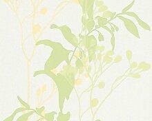 Vliestapete Selina - 1005 x 53 cm Farbe: Weiß / Grün / Hellgrün / Pastellgelb