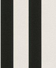 Vliestapete Streifen Gestreift weiß schwarz