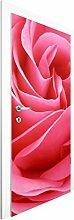 Vliestapete Tür - Lustful Pink Rose - Türtapete , Größe HxB: 215cm x 96cm