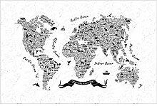 Vliestapete Typografie Weltkarte weiß, HxB: 290cm