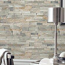 Vliestapete - Vintage - Faux Brick - Grau 3D Home Dekoration , 2