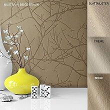 Vliestapete Vinyl Tapete mit Baummuster Beige Braun in edelster Ausführung , außergewöhnliches Tapeten Muster in moderner Landhaus Natur Optik für Design Liebhaber, inkl. Tapezier Ratgeber von Newroom
