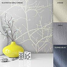 Vliestapete Vinyl Tapete mit Baummuster Grau Weiß Creme in edelster Ausführung , außergewöhnliches Tapeten Muster in moderner Landhaus Natur Optik für Design Liebhaber, inkl. Tapezier Ratgeber von Newroom
