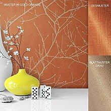 Vliestapete Vinyl Tapete mit Baummuster Orange Beige in edelster Ausführung , außergewöhnliches Tapeten Muster in moderner Landhaus Natur Optik für Design Liebhaber, inkl. Tapezier Ratgeber von Newroom