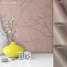 Vliestapete Vinyl Tapete mit Baummuster Rosa Rose Braun in edelster Ausführung , außergewöhnliches Tapeten Muster in moderner Landhaus Natur Optik für Design Liebhaber, inkl. Tapezier Ratgeber von Newroom