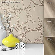 Vliestapete Vinyl Tapete mit Baummuster Weiß Creme Braun in edelster Ausführung , außergewöhnliches Tapeten Muster in moderner Landhaus Natur Optik für Design Liebhaber, inkl. Tapezier Ratgeber von Newroom