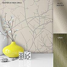 Vliestapete Vinyl Tapete mit Baummuster Weiß Grau in edelster Ausführung , außergewöhnliches Tapeten Muster in moderner Landhaus Natur Optik für Design Liebhaber, inkl. Tapezier Ratgeber von Newroom