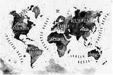 Vliestapete Weltkarte Aquarell schwarz, HxB: 290cm