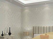 Vliestapete Wohnzimmer Schlafzimmer Wände 3D-Beflockung Dick Tapete, weiß, 0.53m*10m