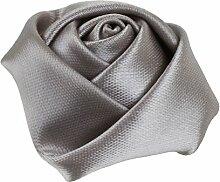 vlovelife 4cm Elfenbeinfarben klein Satin Rose Buds Real Touch Rosette Blume Kopf für Nähen, Haarband, Stirnband Zubehör 10Stück Silber