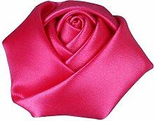 vlovelife 4cm weiß klein Satin Rose Buds Echt Touch Rosette Blume Kopf für Nähen, Haarband, Stirnband Zubehör 50Stück Pink