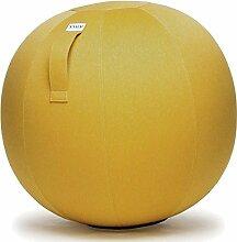 VLUV LEIV Stoff-Sitzball - Ø 65 cm / Ø 75 cm in Mustard Gelb + Designer Flaschenöffner (siehe Bild). Hochwertige Sitzbälle / Gymnastikbälle für Zuhause und Büro. (Ø 75 cm)