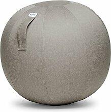 VLUV LEIV Stoff-Sitzball SBV-004.75ST, ergonomisches Sitzmöbel für Büro und Zuhause, Farbe: Stone (beige), Ø 70cm - 75cm, Möbelbezugsstoff, robust und formstabil, mit Tragegriff