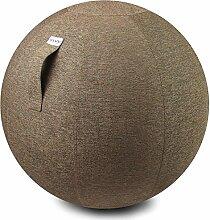 VLUV STOV Stoff-Sitzball - Ø 65cm / Ø 75 cm in Farbe Macchiato + Designer Flaschenöffner (siehe Bild). Hochwertige Sitzbälle / Gymnastikbälle für Zuhause und Büro.
