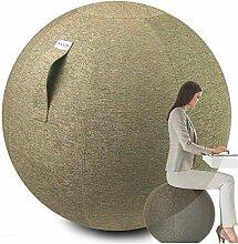 VLUV STOV Stoff Sitzball 65cm Kiesel + GRATIS Produkt (siehe Bild) - Hochwertiger Sitzball / Gymnastikball für Deine Gesundheit und Dein Rückentraining