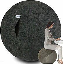 VLUV STOV Stoff Sitzball 75cm Anthrazit + GRATIS Produkt (siehe Bild) - Hochwertiger Sitzball / Gymnastikball für Deine Gesundheit und Dein Rückentraining - Gesundes Sitzen Zuhause und im Büro
