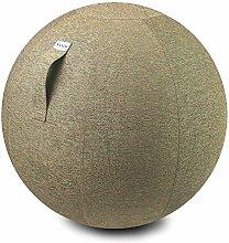 VLUV STOV Stoff-Sitzball SBV-002.65CKI, ergonomisches Sitzmöbel für Büro und Zuhause, Farbe: kiesel (hellbeige), Ø 60cm - 65cm, hochwertiger Möbelbezugsstoff, robust und formstabil, mit Tragegriff