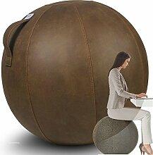 VLUV VEEL Leder-Imitat Sitzball 75cm Cognac Braun + GRATIS Produkt (siehe Bild) - Hochwertiger Sitzball / Gymnastikball für Deine Gesundheit und Dein Rückentraining