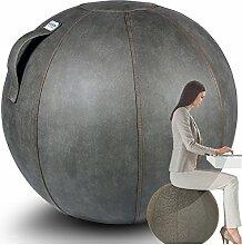 VLUV VEEL Leder-Imitat Sitzball 75cm Schlamm Grau + GRATIS Produkt (siehe Bild) - Hochwertiger Sitzball / Gymnastikball für Deine Gesundheit und Dein Rückentraining
