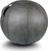 VLUV VEEL Lederimitat-Sitzball SBV-003.75SC, ergonomisches Sitzmöbel für Büro und Zuhause, Farbe: schlamm (mittelgrau antik), Ø 70cm - 75cm, Bezug aus lederartigem Imitat, robust und formstabil, mit Tragegriff