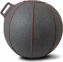 VLUV VELT Filz-Sitzball SBV-001.75GR, ergonomisches Sitzmöbel für Büro und Zuhause, Farbe: grau-melange/rot, Ø 70cm - 75cm, 100% Merino Wollfilz, robust und formstabil, mit Tragegriff
