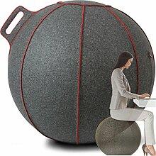 VLUV VELT Merino-Woll-Filz Sitzball 65cm Grau Meliert / Rot + GRATIS Produkt (siehe Bild) - Hochwertiger Sitzball / Gymnastikball für Deine Gesundheit und Dein Rückentraining