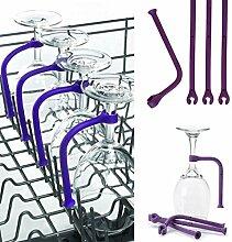 Voberry 4ST Einstellen Silikon Weinglas Geschirrspüler Becherhalter Safer Stemware Saver (Lila)