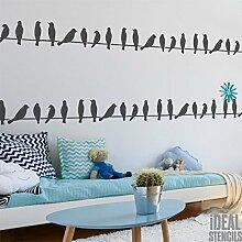 Vögel auf Draht Silhouette Schablone Wandfarbe Stoff und Möbel, wiederverwendbar & wiederholbar, Heim Dekoration, Kunst Handwerk Stempel - M/9X37CM