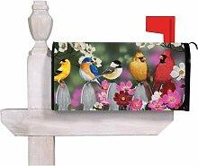 Vögel auf einem Lattenzaun magnetisch Mailbox Cover