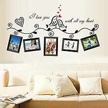 Vögel Bilderrahmen englischen Buchstaben Wand Aufkleber PVC Home Aufkleber House Vinyl Papier Dekoration Tapete Wohnzimmer Schlafzimmer Küche Kunst Bild DIY Wandmalereien Mädchen Jungen Baby Kinderzimmer Spielzimmer Decor