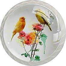 Vögel und Blumen Küchenknopf Klarglasschrank
