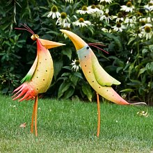 Vogel 2 Vögel aus Metall Gartendeko Deko Garten