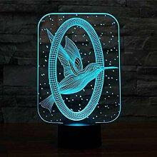Vogel 3D Nachtlicht 7 Farben Ändern LED USB 3D