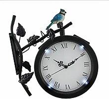 Vogel auf Ivy Ast schwarz Metall solarbetriebene LED Outdoor Wanduhr