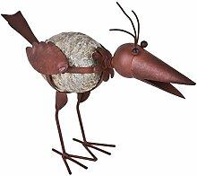 Vogel Birdy Deko Figur Metall Resin 28x35x15cm braun Gartendeko