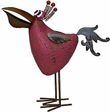 Vogel, Blechvogel - Rosi - rosa, ca. 30 cm