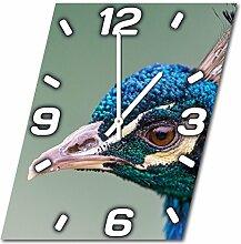 Vogel, Design Wanduhr aus Alu Dibond zum Aufhängen, 48 cm Durchmesser, schmale Zeiger, schöne und moderne Wand Dekoration, mit qualitativem Quartz Uhrwerk