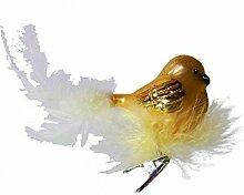 Vogel gold mit Federnest Glas-Ornament 15 cm