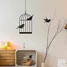 Vogel Käfig Vögel Wand Deko Kinderzimmer Schablone Wandfarbe Stoff und Möbel, wiederverwendbar, Heim Dekoration, Kunst Handwerk Stempel - Multipack S/M/L
