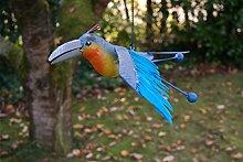 Vogel mit Federn zum Aufhängen mit Sprungfeder Vogel Metall Deko Baumdeko lackiert (Blau)