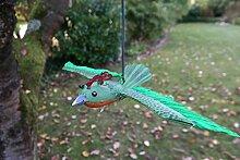 Vogel mit Federn zum Aufhängen mit Sprungfeder Vogel Metall Deko Baumdeko lackiert (Grün)