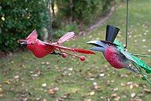 Vogel mit Federn zum Aufhängen mit Sprungfeder Vogel Metall Deko Baumdeko lackiert (Rot)