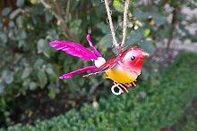 Vogel mit Federn zum Aufhängen Vogel Metall Deko Baumdeko lackiert (4)