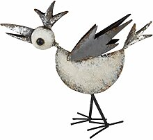 Vogel Objekt Design Deko Metall creme grau Figur (40x40x7cm)
