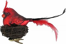 Vogel rot mit Nest aus Zweigen Glas-Ornament 20 cm