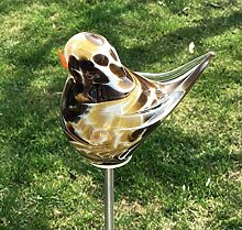 Vogel - Spatz mit Flügel auf Stab Mokka Glas H